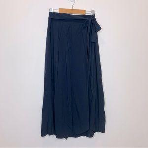 Oak + Fort Tie Waist Faux Wrap Midi Skirt Navy